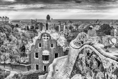 Scenic aerial view from Park Guell in Barcelona, Catalonia, Spain Stock Photo