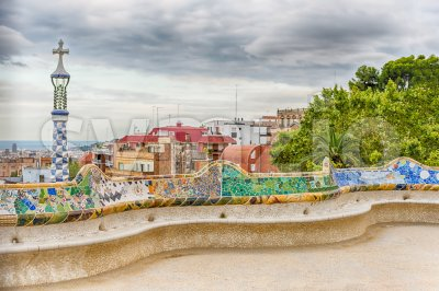 Colorful main terrace of Park Guell, Barcelona, Catalonia, Spain Stock Photo