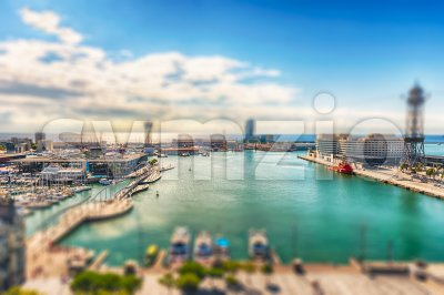 Aerial view of Port Vell, Barcelona, Catalonia, Spain Stock Photo