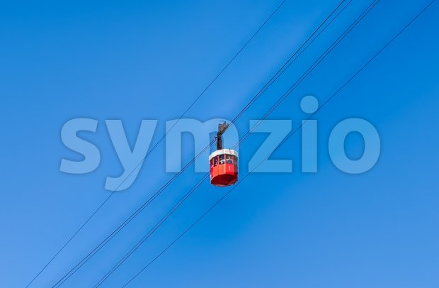 Red wagon of the cablecar in Barcelona, Catalonia, Spain Stock Photo