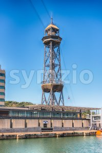 Jaume I tower, Port Vell of Barcelona, Catalonia, Spain Stock Photo