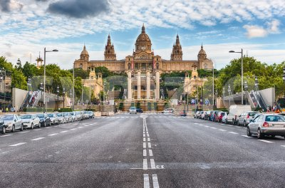 Facade of National Art Museum of Catalonia, Barcelona, Catalonia, Spain Stock Photo