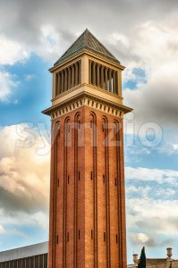 One of the Venetian Towers, landmarks in Barcelona, Catalonia, Spain Stock Photo