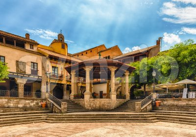Plaza Mayor, main square in Poble Espanyol, Barcelona, Catalonia, Spain Stock Photo
