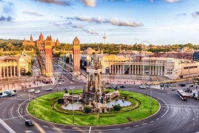Aerial view of Placa d'Espanya, landmark in Barcelona, Catalonia, Spain Stock Photo