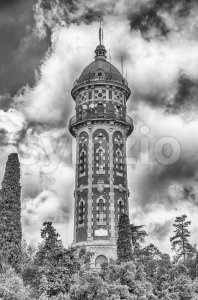 Water tower on Tibidabo hill, Barcelona, Catalonia, Spain Stock Photo