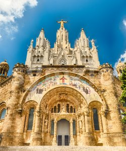 Church of the Sacred Heart, Tibidabo mountain, Barcelona, Catalonia, Spain Stock Photo