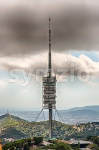 Collserola Tower on Tibidabo mountain, Barcelona, Catalonia, Spain Stock Photo