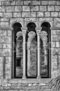 Medieval gothic window, La Ribera district of Barcelona, Catalonia, Spain Stock Photo