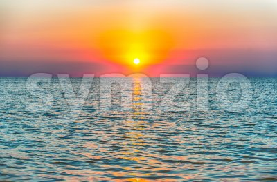 Scenic sunset on the mediterranean sea Stock Photo