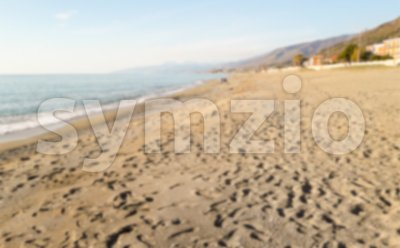 Defocused background of a scenic beach in Calabria, Italy Stock Photo