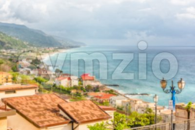Defocused background with aerial view of coastline in Calabria, Italy Stock Photo