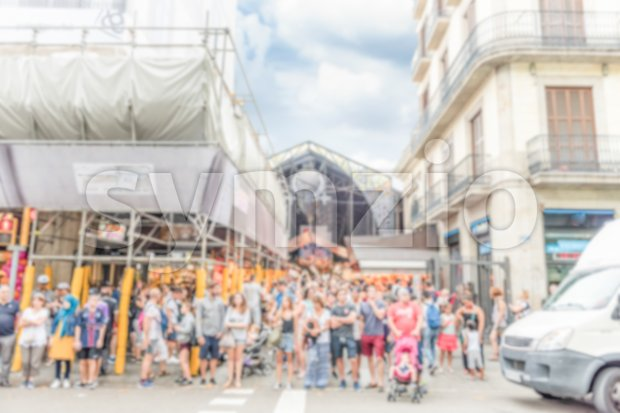 Defocused background outside La Boqueria market, Barcelona, Catalonia, Spain Stock Photo