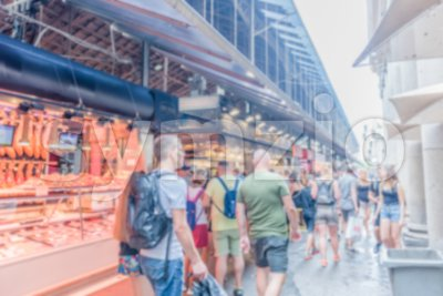 Defocused background inside La Boqueria market, Barcelona, Catalonia, Spain Stock Photo