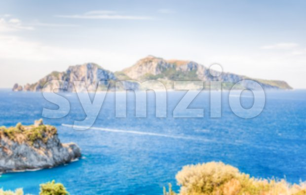 Defocused background with view of the Island of Capri, Italy Stock Photo
