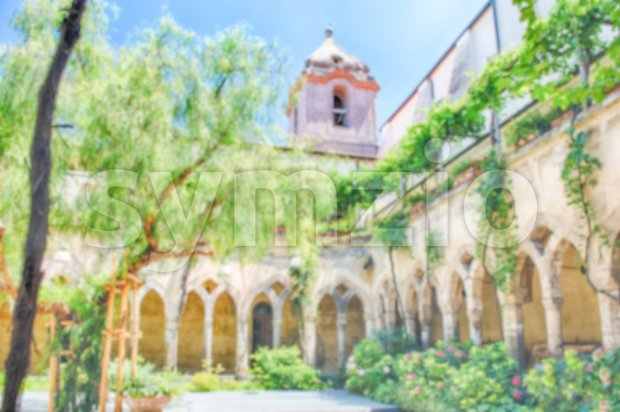 Defocused background of an ancient cloister in Sorrento, Italy Stock Photo