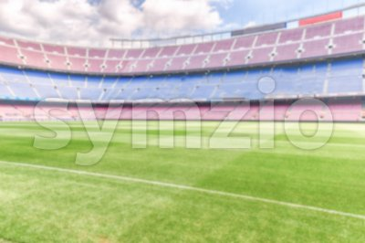 Defocused background with an empty european football stadium Stock Photo