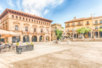 Defocused background of Poble Espanyol, Barcelona, Catalonia, Spain Stock Photo