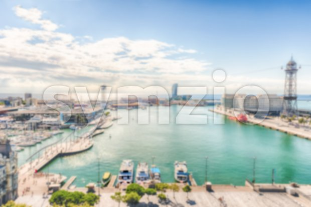 Defocused background with view of Port Vell, Barcelona, Catalonia, Spain Stock Photo