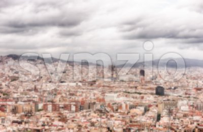 Defocused background with aerial view of Barcelona, Catalonia, Spain Stock Photo