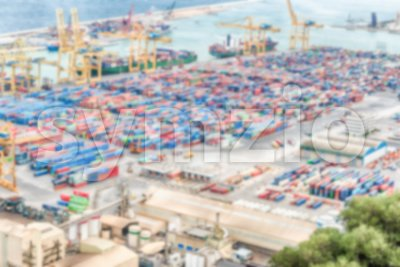 Defocused background of the Port of Barcelona, Catalonia, Spain Stock Photo