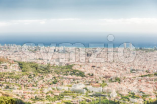 Defocused background with aerial view over Barcelona, Catalonia, Spain Stock Photo
