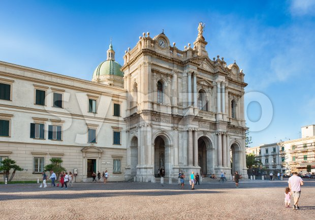 Facade of Church of Our Lady of Rosary, Pompei, Italy Stock Photo