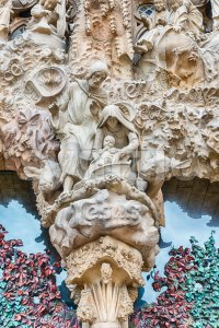 Detail of the Nativity Facade, Sagrada Familia, Barcelona, Catalonia, Spain Stock Photo