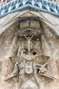 Detail of the Passion Facade, Sagrada Familia, Barcelona, Catalonia, Spain Stock Photo