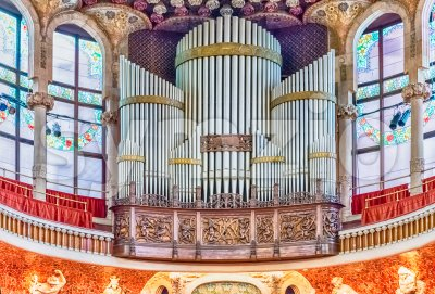 Pipe organ, Palau de la Musica Catalana, Barcelona, Catalonia, Spain Stock Photo