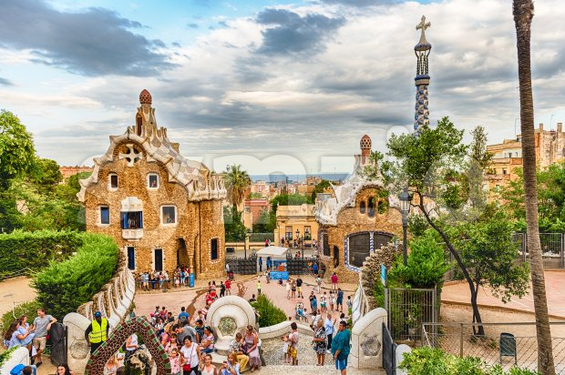 Modernist buildings in Park Guell, Barcelona, Catalonia, Spain Stock Photo