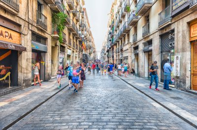 Carrer de Ferran, Gothic Quarter of Barcelona, Catalonia, Spain Stock Photo