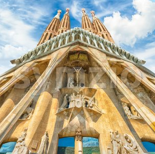 Passion Facade of the Sagrada Familia, Barcelona, Catalonia, Spain Stock Photo