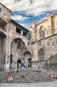 Medieval walls in Placa del Rei, Barcelona, Catalonia, Spain Stock Photo