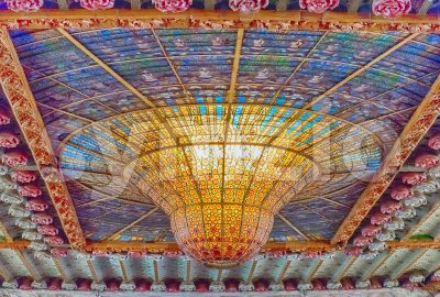 Stained-glass skylight, Palau de la Musica Catalana, Barcelona, Catalonia, Spain Stock Photo