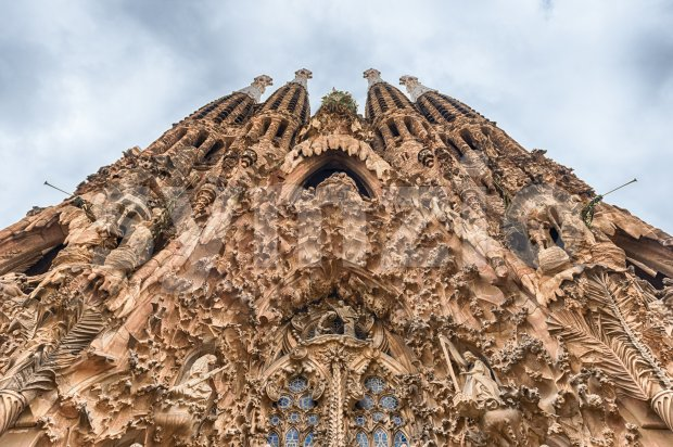 Nativity Facade of the Sagrada Familia, Barcelona, Catalonia, Spain Stock Photo
