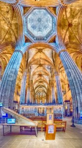 Panoramic view inside Barcelona Cathedral, Catalonia, Spain Stock Photo