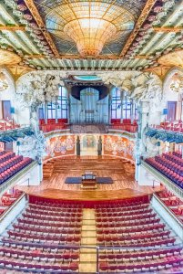 Interior of Palau de la Musica Catalana, Barcelona, Catalonia, Spain Stock Photo