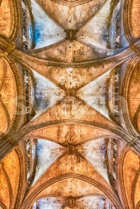 Interior of the Barcelona Cathedral, Catalonia, Spain Stock Photo