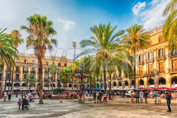 View of the scenic Placa Reial in Barcelona, Catalonia, Spain Stock Photo