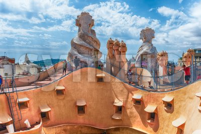 Rooftop of the modernist masterpiece Casa Mila, Barcelona, Catalonia, Spain Stock Photo