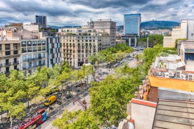 Passeig de Gracia, view from Casa Mila, Barcelona, Catalonia, Spain Stock Photo
