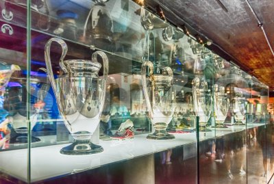 Row of Champions League cups, Barcelona, Catalonia, Spain Stock Photo