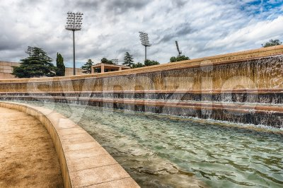 Detail of fountain at the Olympic Park, Barcelona, Catalonia, Spain Stock Photo