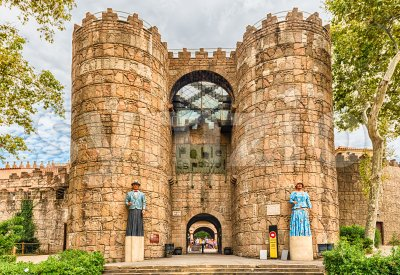 Main entrance of Poble Espanyol village, Barcelona, Catalonia, Spain Stock Photo