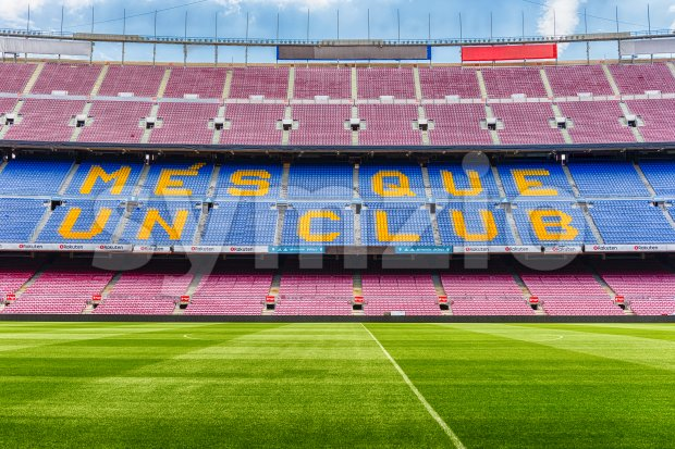 FC Barcelona's motto in Camp Nou stadium, Barcelona, Catalonia, Spain Stock Photo