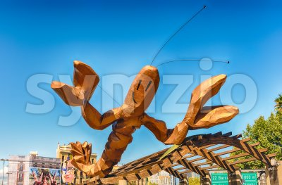 Funky lobster statue on Passeig de Colom, Barcelona, Catalonia, Spain Stock Photo