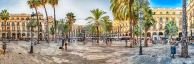 Panoramic view of Placa Reial in Barcelona, Catalonia, Spain Stock Photo