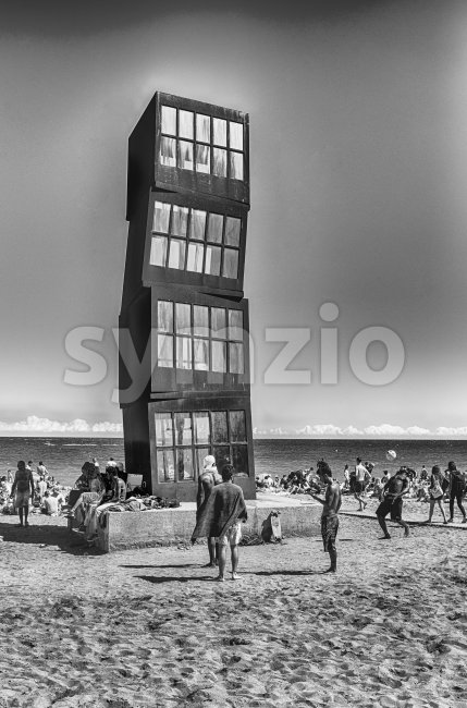 Monument on La Barceloneta beach, Barcelona, Catalonia, Spain Stock Photo