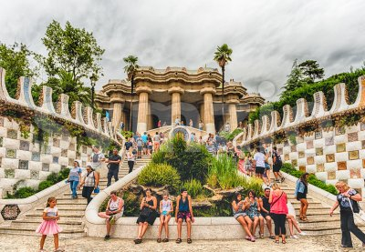 Main entrance and staircase of Park Guell, Barcelona, Catalonia, Spain Stock Photo